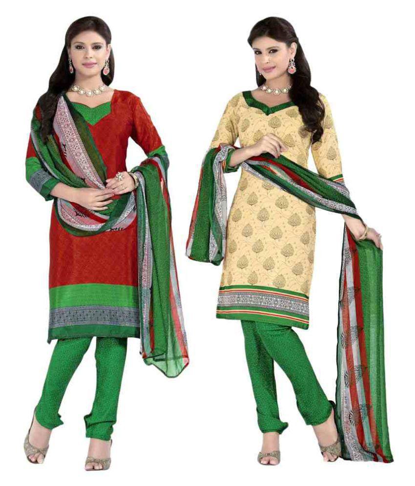 Maroosh Multicoloured Crepe Dress Material