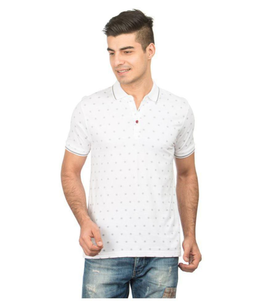 Zeven White Regular Fit Polo T Shirt