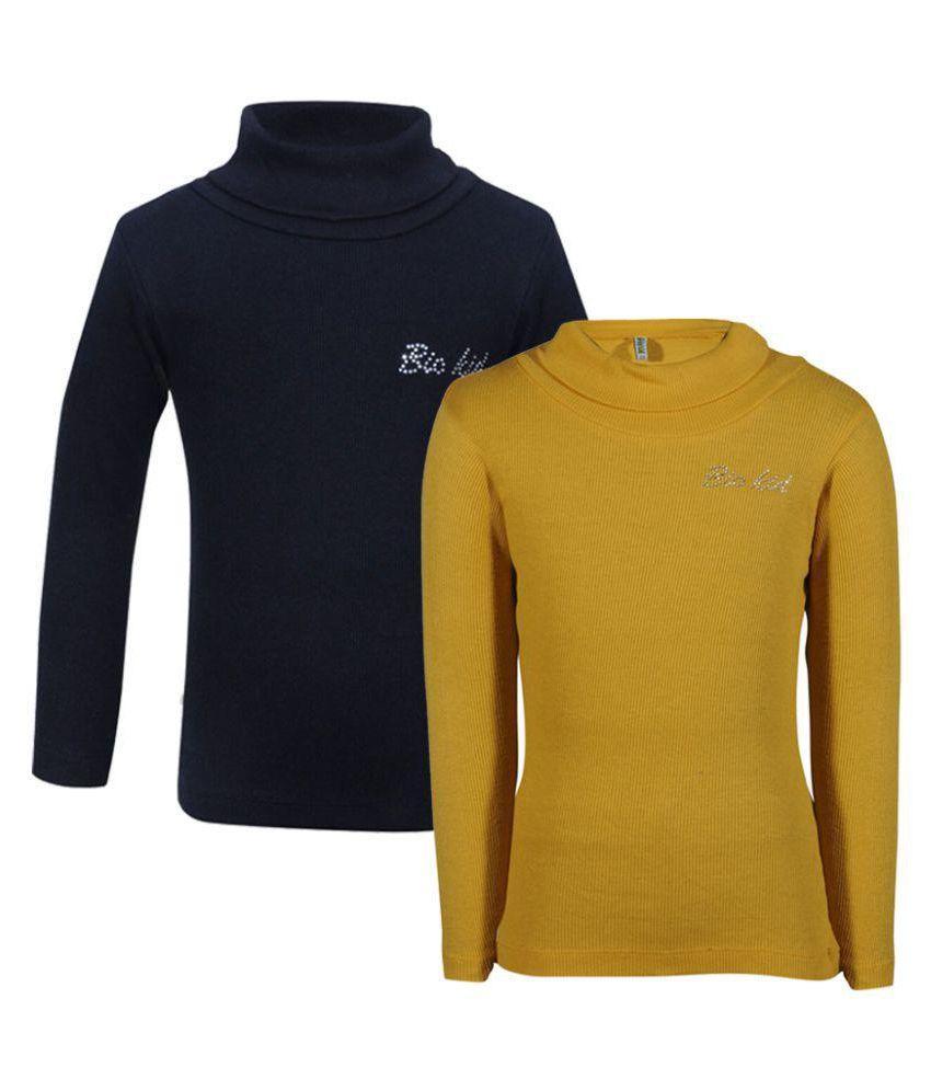 Bio Kid Full Sleeve Solid Gold and Black Girl's Sweatshirt