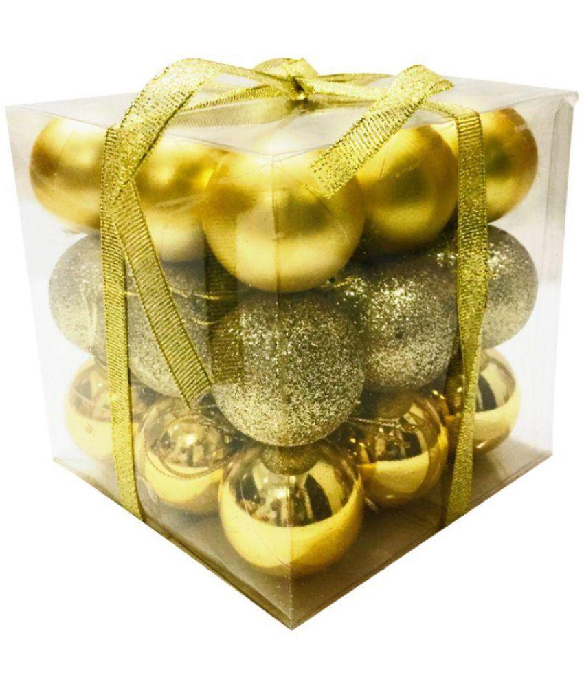 Priyankish Plastic Christmas Tree Decoration Gold-(Pack of 27)-13% OFF