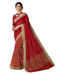 Indian Ethnic Wears Red Art Silk Saree