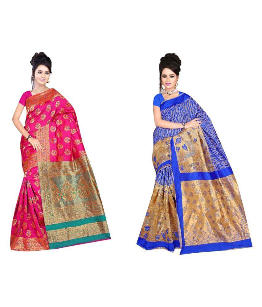 The Lugai Fashion Multicoloured Silk Saree Combos