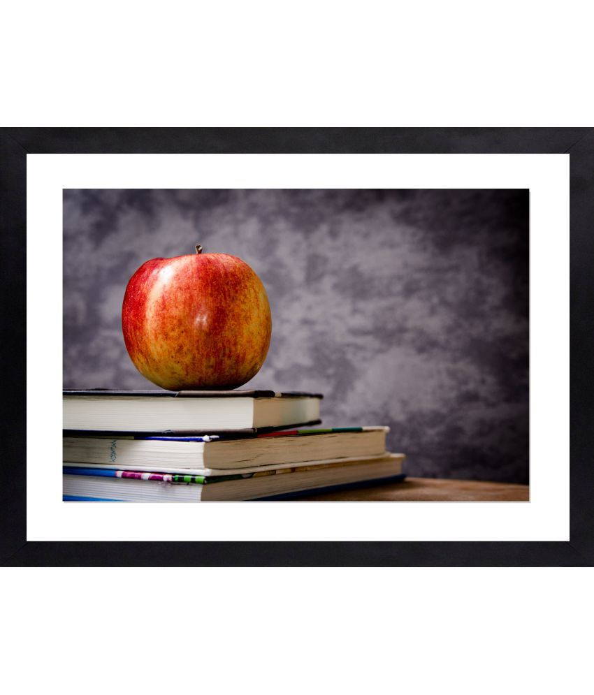 Craftsfest Fruits with books Glass Painting With Frame Single Piece
