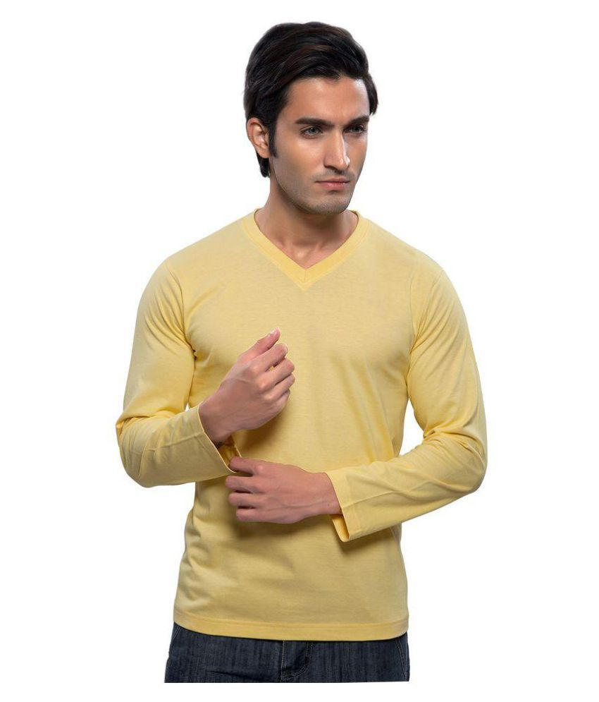 Maa Readymade Suppliers Yellow V-Neck T-Shirt
