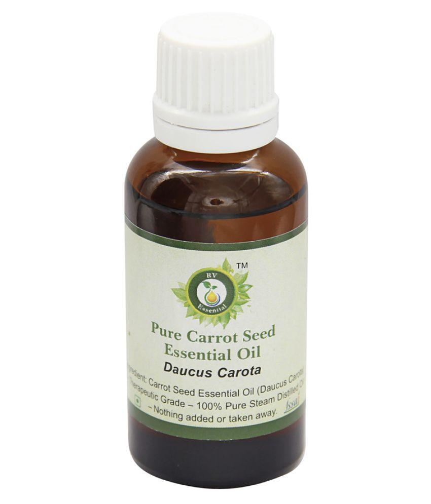 R V Essential Pure Carrot Seed Essential Oil 100ml- Daucus Carota Essential Oil With Dropper 100 ml