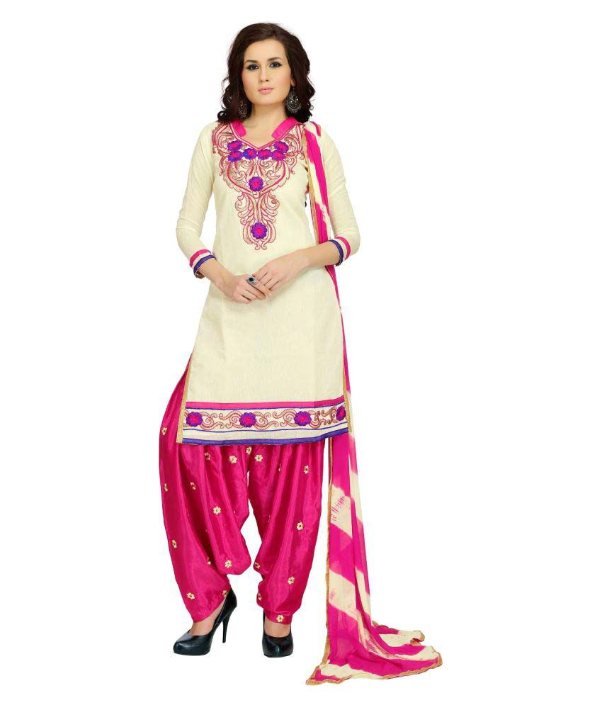 Tulsi Trendz Beige Chanderi Dress Material