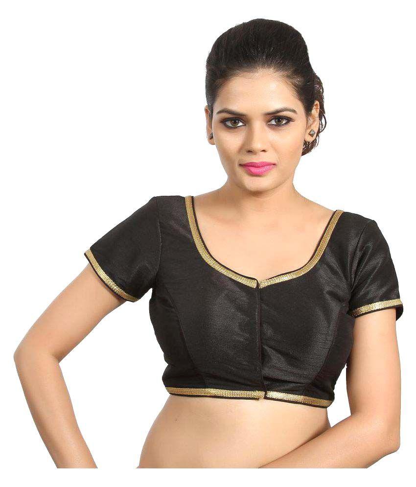 Atulya Designer Blouse Black Sweetheart Shape Back Blouse