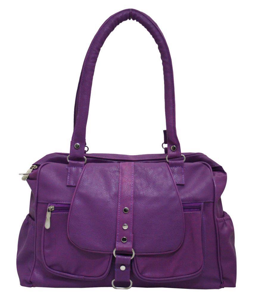 shiningmoon Purple Faux Leather Shoulder Bag