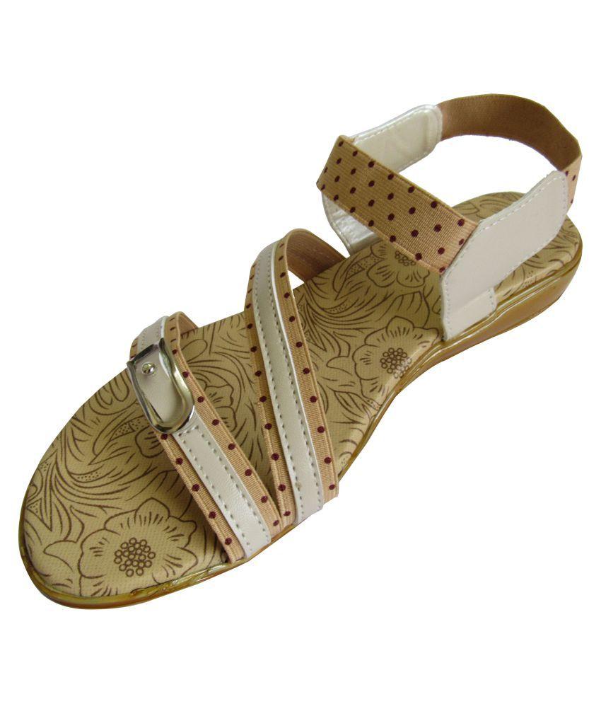 Bindu Fashion Mart Beige Flats