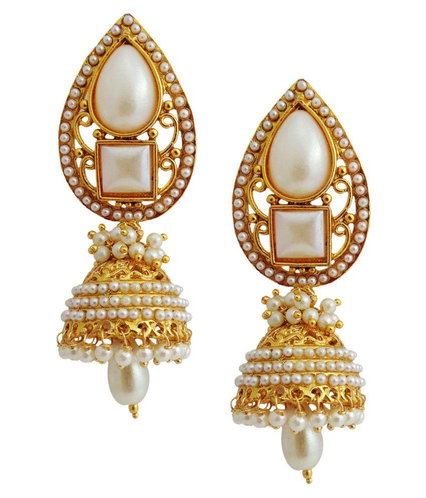 Lalso Preety Gold Plated Wedding Bandani Jhumka Earrings