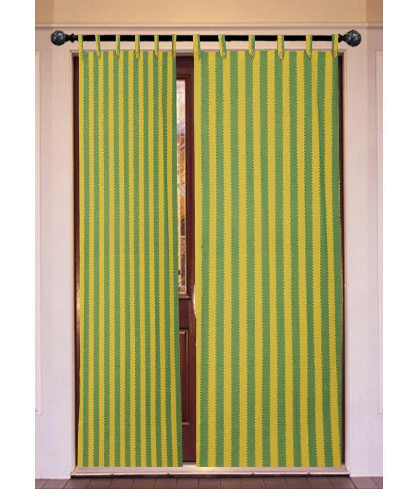 New Ladies Zone Set of 2 Window Loop Curtains Stripes Green