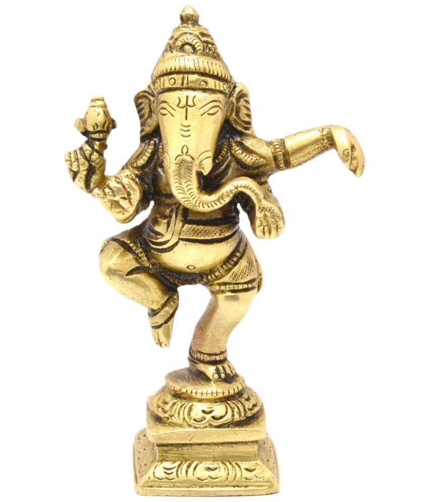 Two Moustaches Ganesha Brass Idol