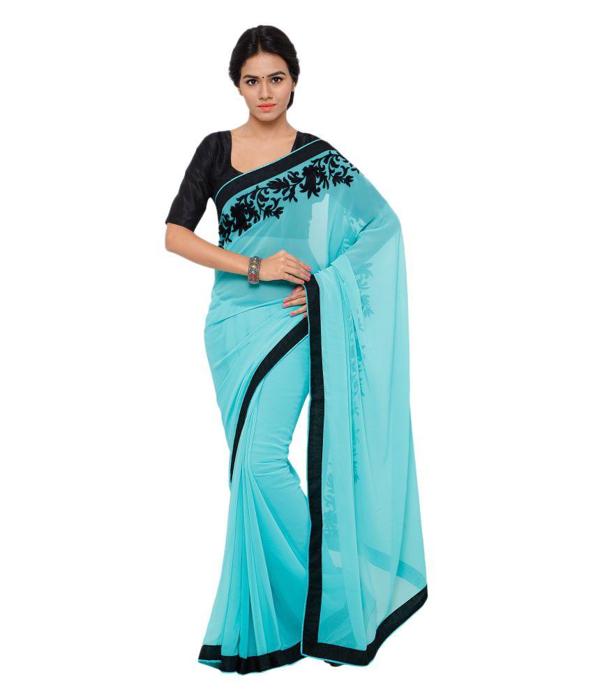 Nanda Silk Mills Turquoise Georgette Saree