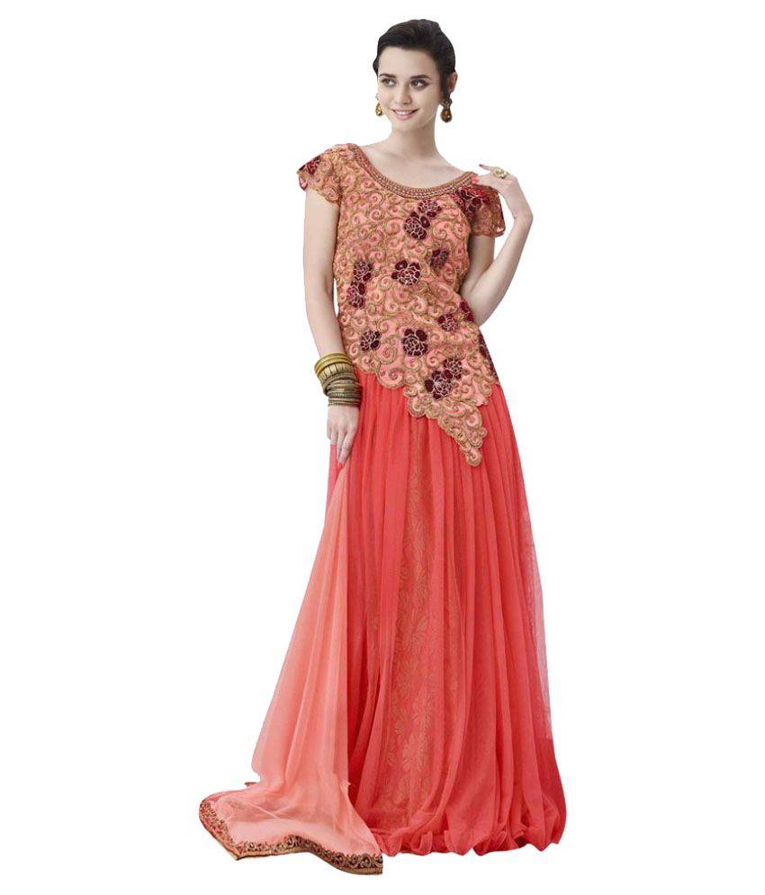 Viva N Diva Pink Net Unstitched Semi Stitched Lehenga