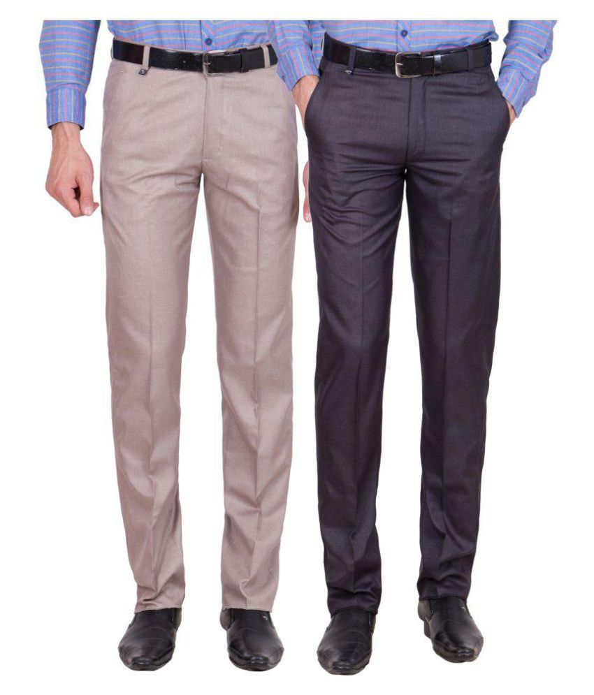 Cliths Multicolored Slim Flat Trousers