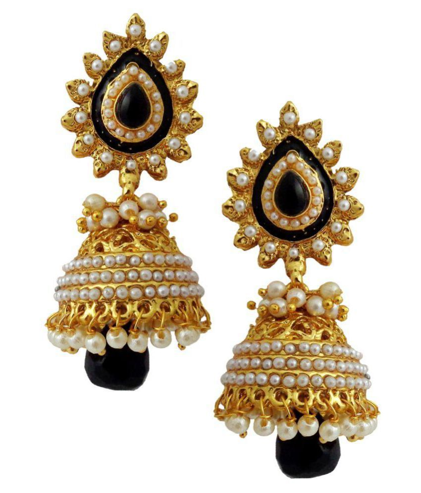 f9c69b4a0cc Lalso Fabulous Black Gold Plated Wedding Bandani Jhumka Earrings - Buy  Lalso Fabulous Black Gold Plated Wedding Bandani Jhumka Earrings Online at  Best ...