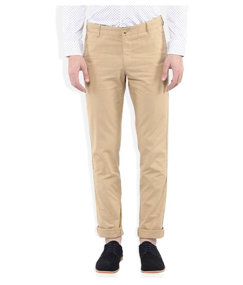 John Miller Beige Slim Flat Trousers