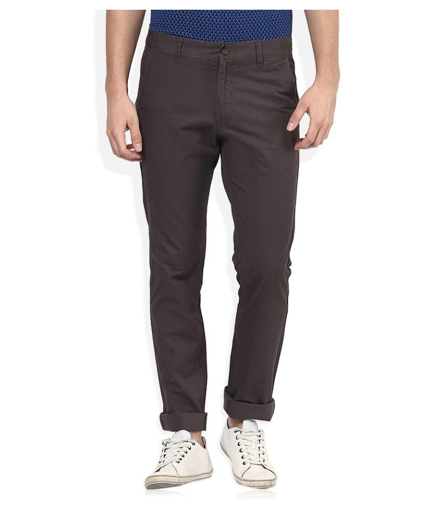 Scullers Grey Slim Flat Chinos