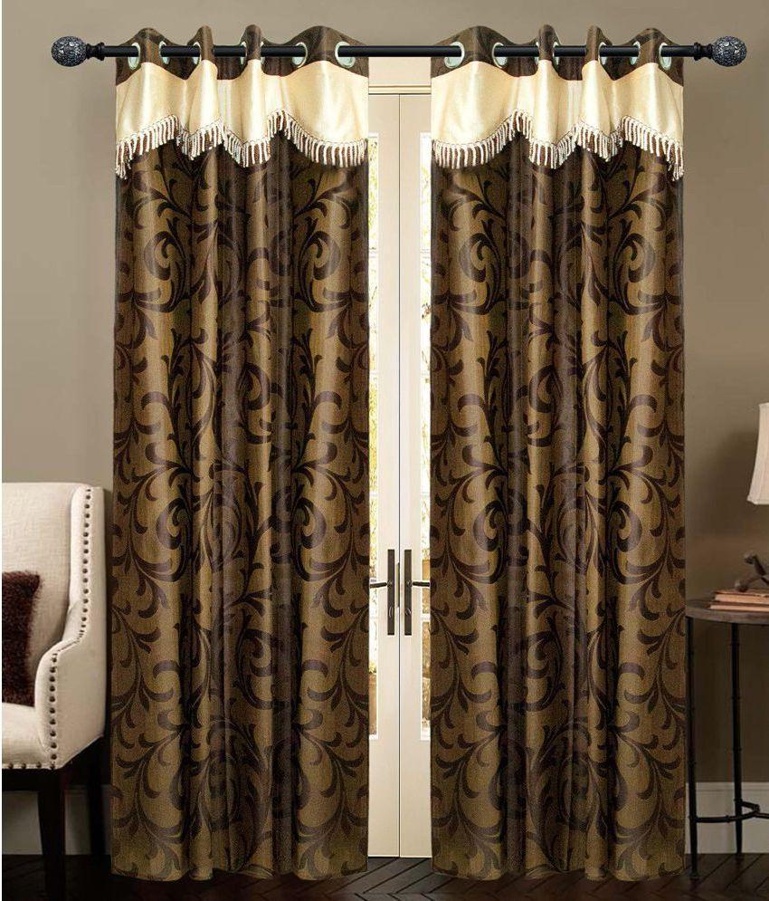 New Ladies Zone Set of 2 Window Eyelet Curtains Floral Brown