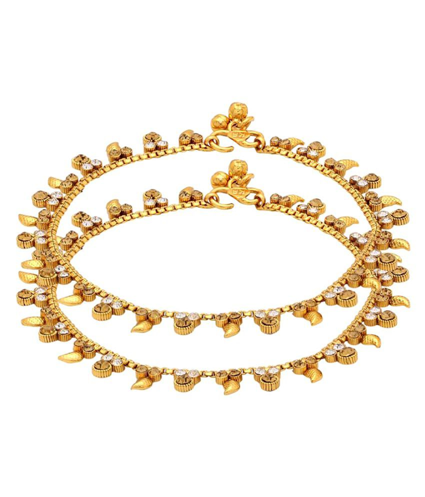Voylla Glossy Gold Plated Shiny Stones Studded Anklets