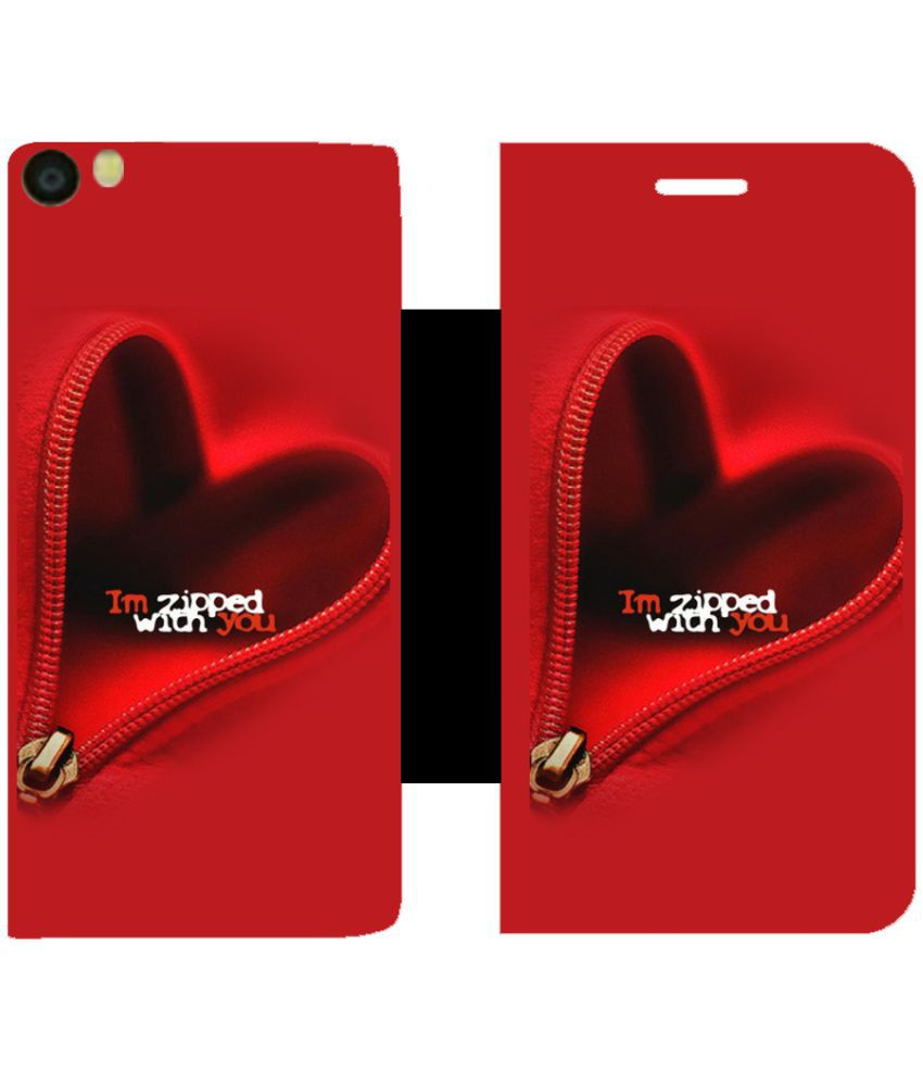 Vivo Y55L Flip Cover by Skintice - Red