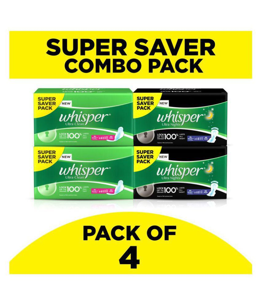 Whisper Ultra XL 30 + Ultra overnight XL 30 sanitry pads combo Pack of 4