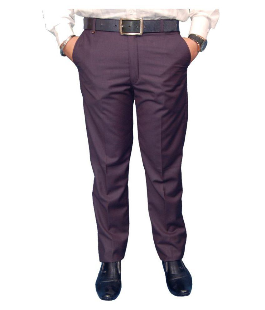 Fashion n Style Purple Regular Flat Trousers