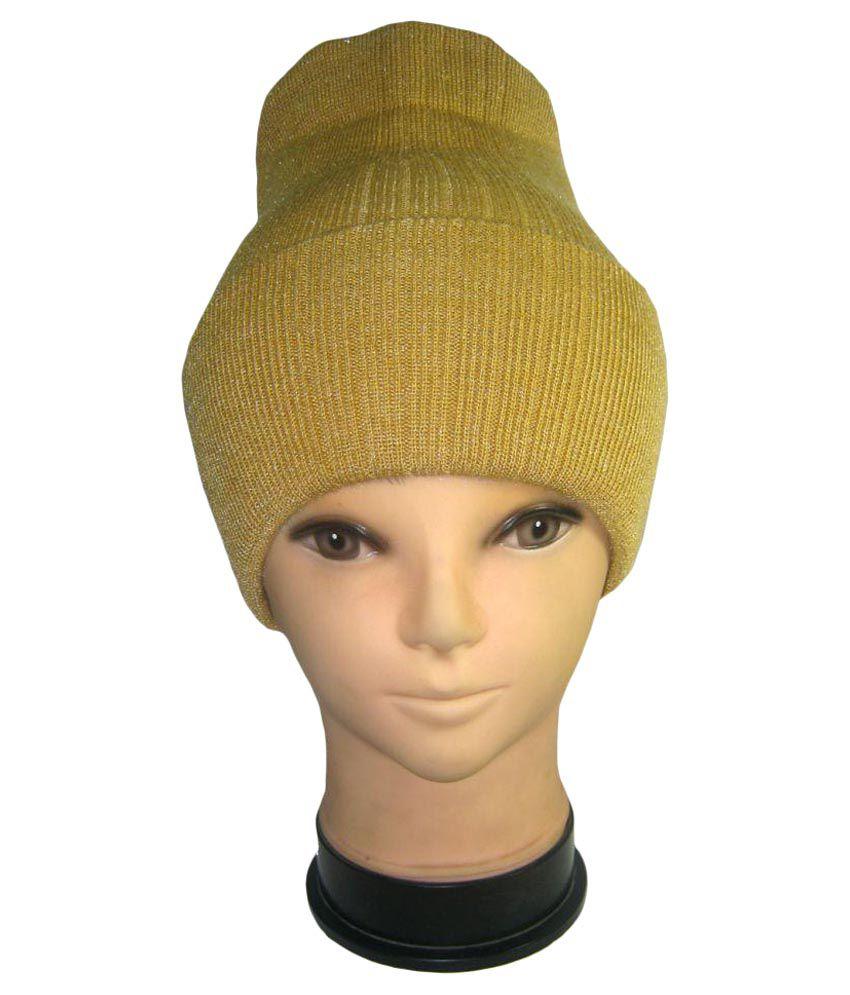 Goodluck Yellow Plain Wool Caps