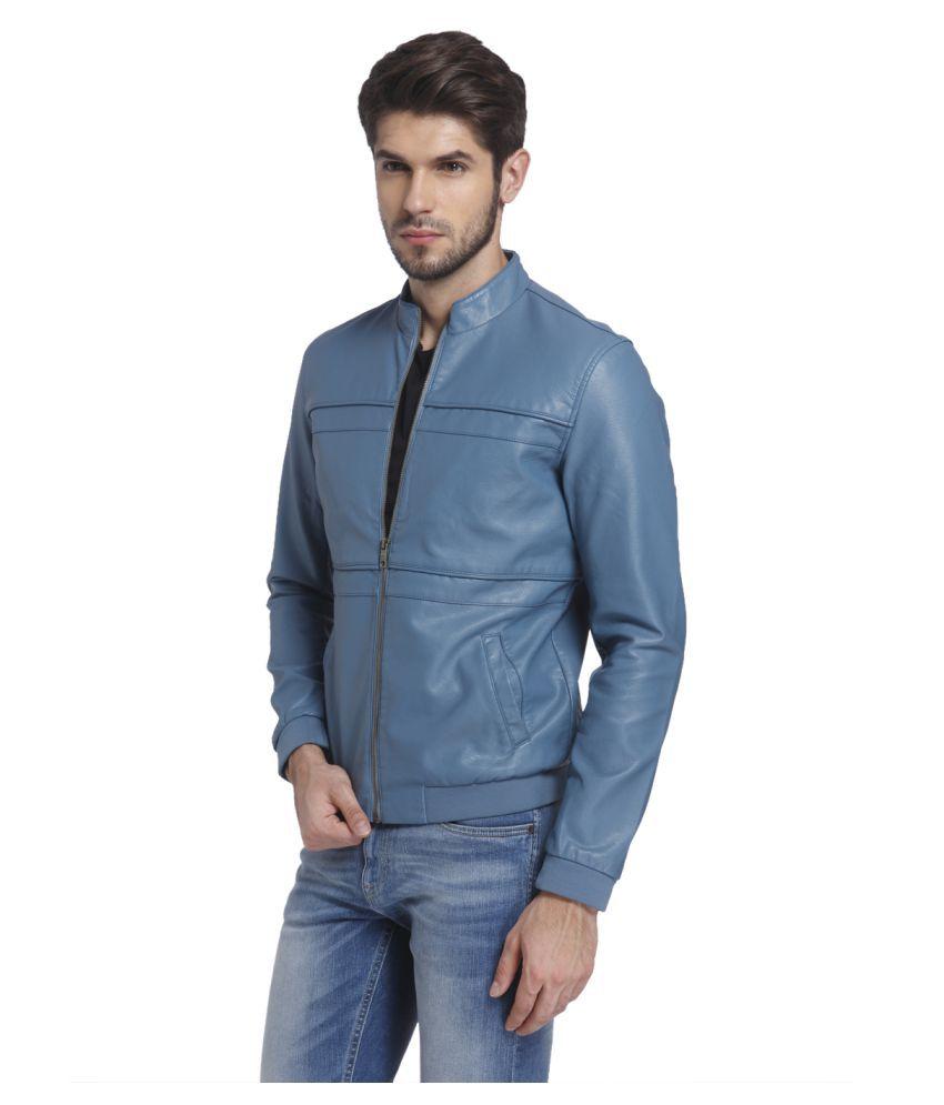 Leather jacket jack and jones -  Jack Jones Blue Leather Jacket