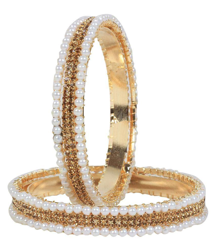 Jewels Gehna Traditional Studded White Pearls Stylish Bangles Set