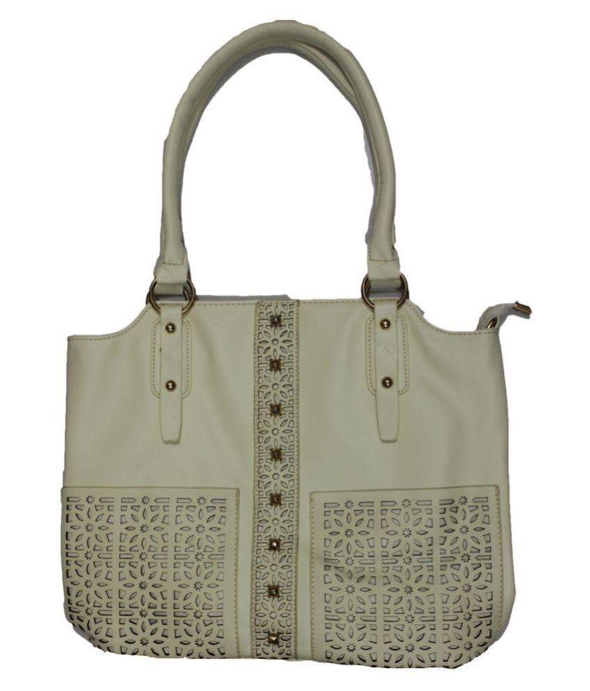 Ramya Beige Faux Leather Shoulder Bag