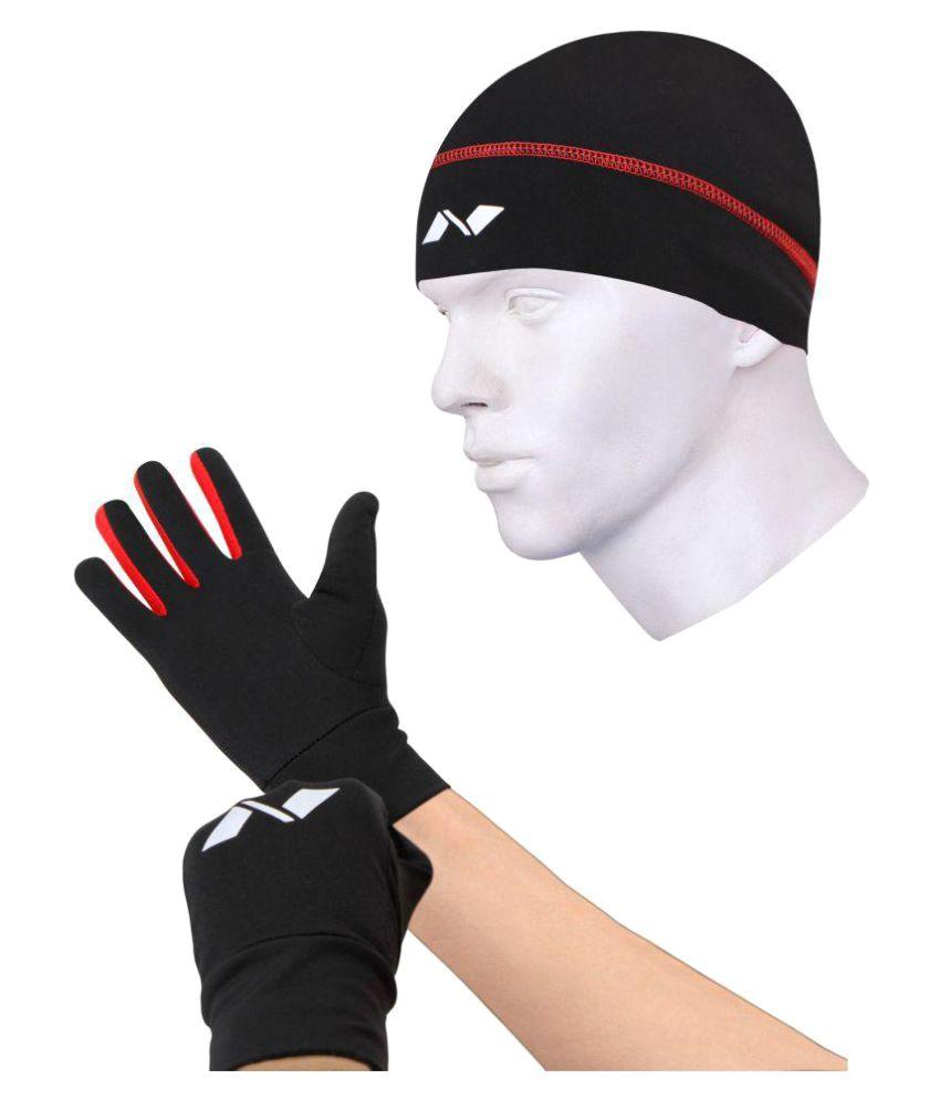 Nivia Black Combo of Running Gloves( M ) & Running Cap