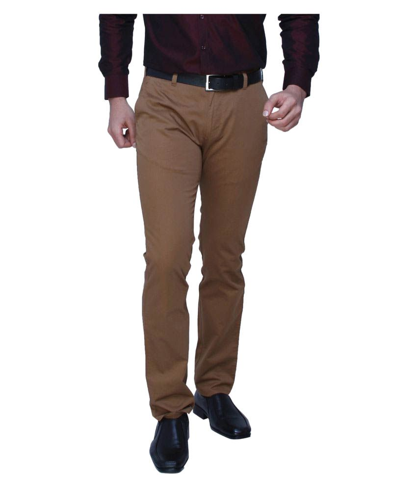 Dj&C by FBB Khaki Tapered Fit Trousers