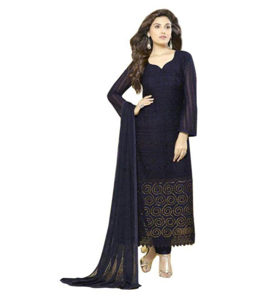 Laxmipathi Suit N Sarees Blue Chiffon Straight Stitched Suit