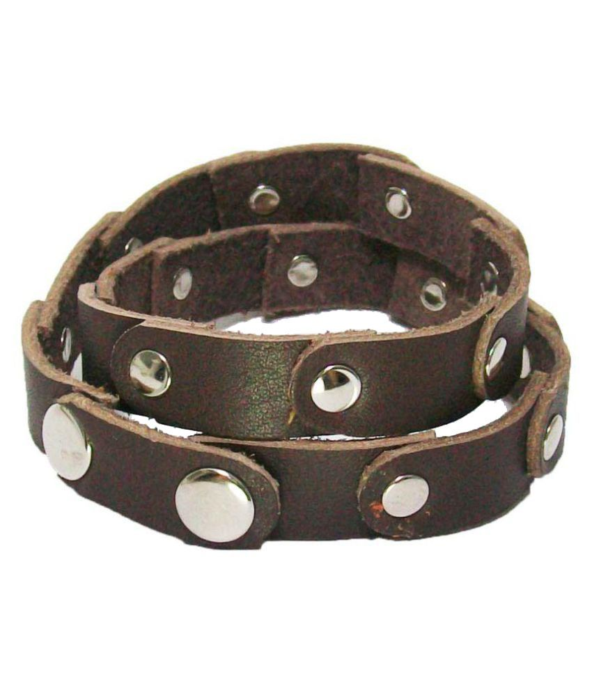 Shopper Zone Mens Genuine leather bracelet with multipatch.
