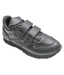 Port Boys Black PU School Shoes