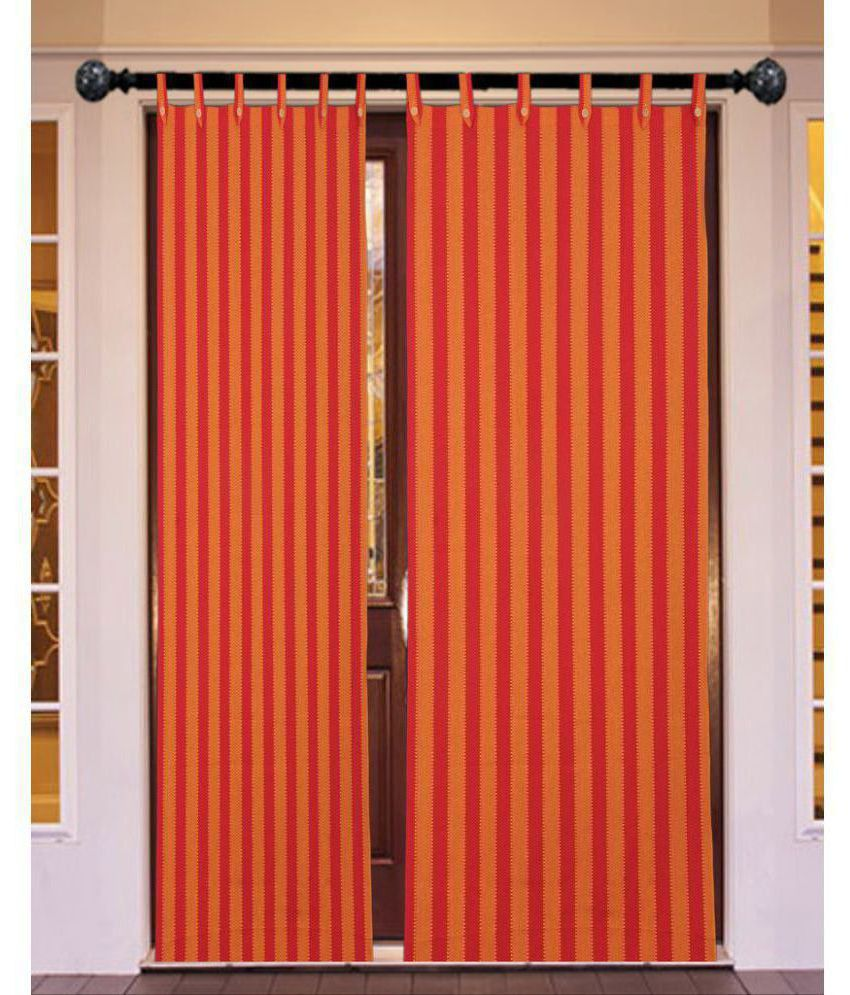 New Ladies Zone Set of 2 Door Tab Top Curtains Stripes Red