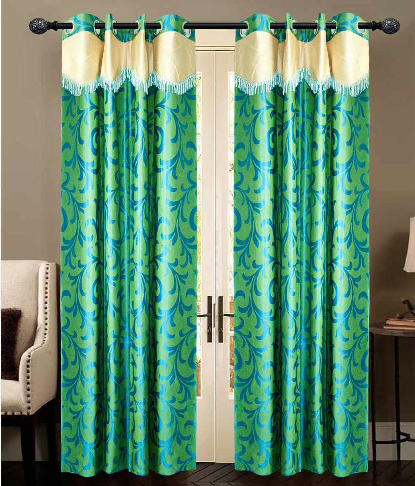 New Ladies Zone Set of 2 Window Eyelet Curtains Floral Green