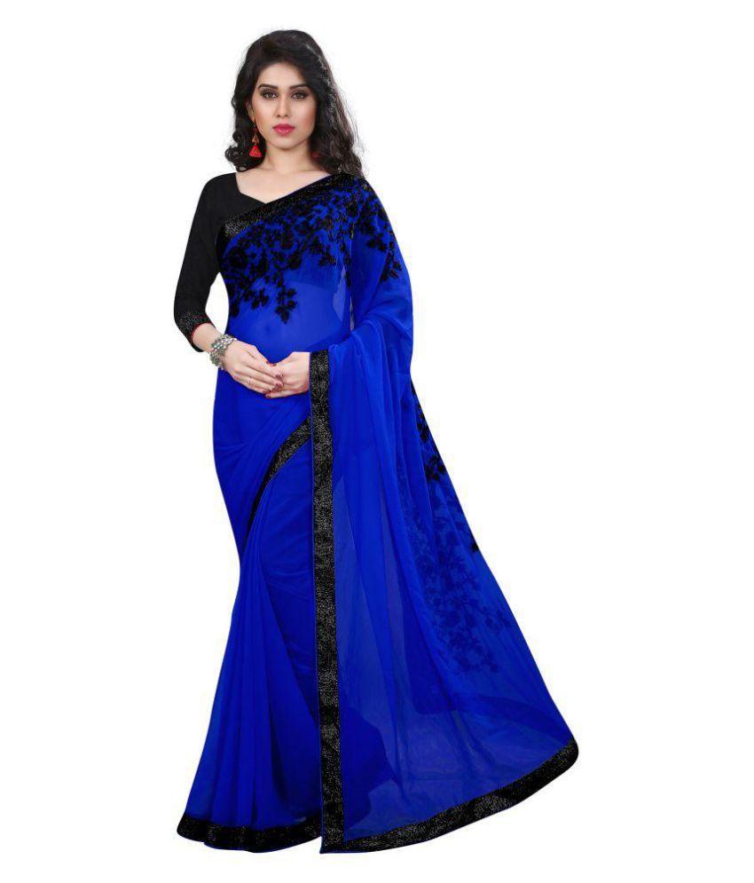 Tread India Blue Georgette Saree