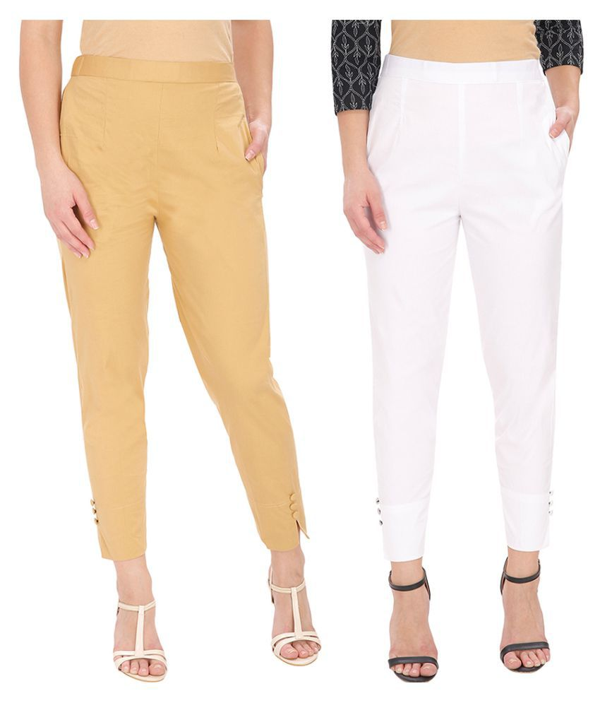Buy Ali Colours Cotton Lycra Cigarette Pants Online At Best Prices In India Snapdeal