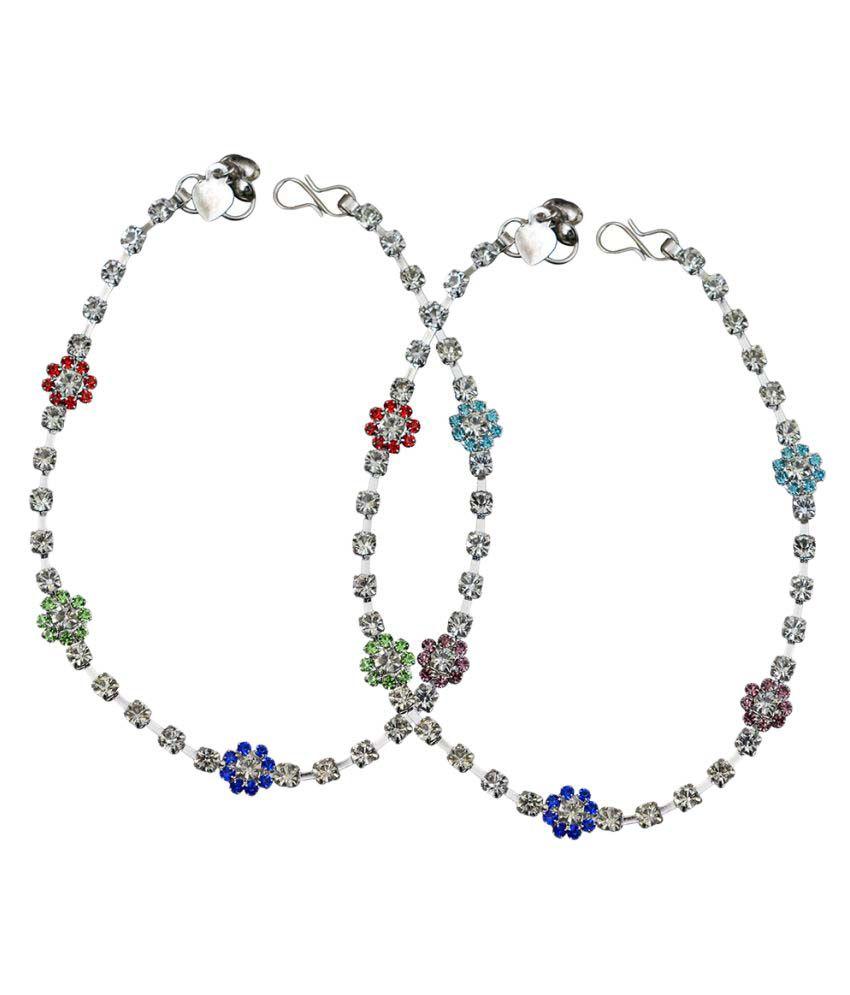 Taj Pearl Designer Silver Anklets