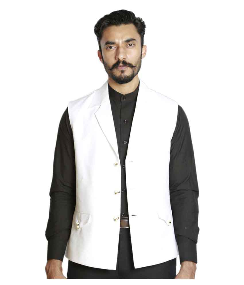 Fusion & Threads White Plain Formal Waistcoat