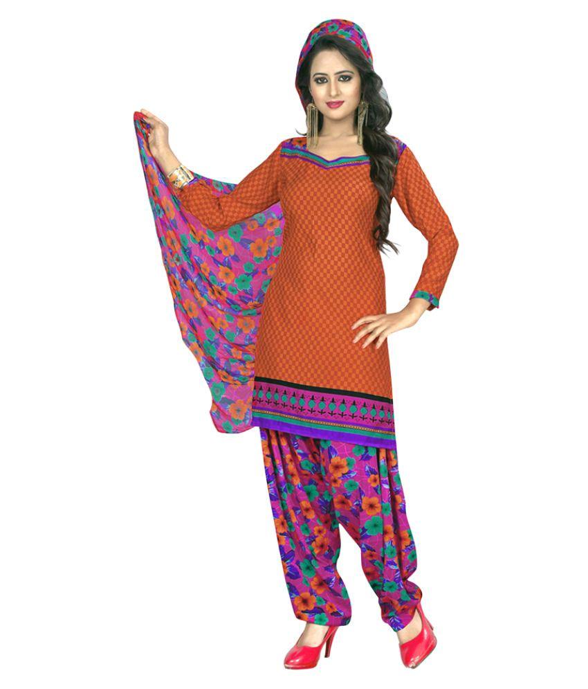 Khushali Orange Crepe Dress Material