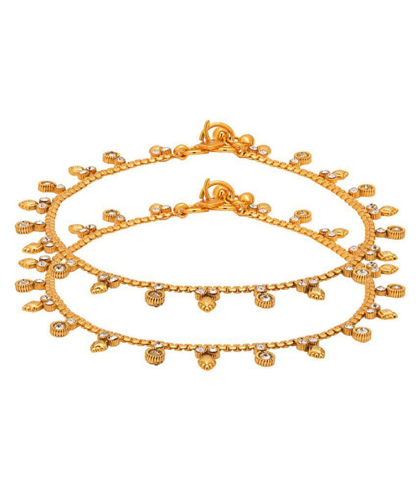 Voylla Golden Alloy Anklet-Pack of 2