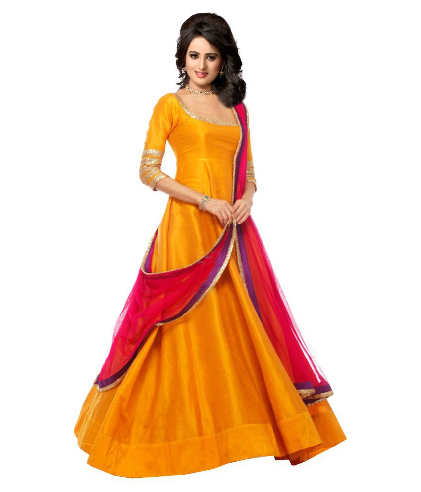 Greenvilla Designs Yellow Bangalore Silk Anarkali Gown Stitched Suit