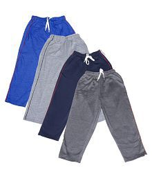 IndiWeaves Girls Premium 2 Cotton and 2 Warm Wollen Lower/Track Pants For Winter (Pack of -4)_Blue::Gray::Navy Blue::Grey_Size-8-9 Years
