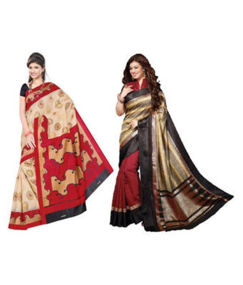 Eshwari Creation Multicoloured Bhagalpuri Cotton Saree Combos