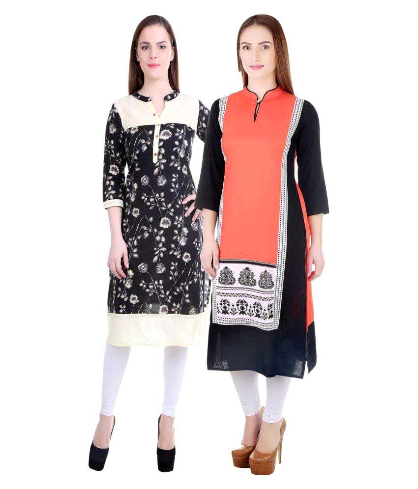 Om Sai Fashion Multicoloured Cotton Straight Kurti