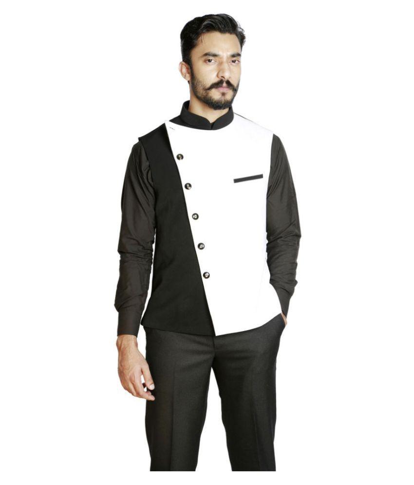 Fusion & Threads Black Plain Formal Waistcoats