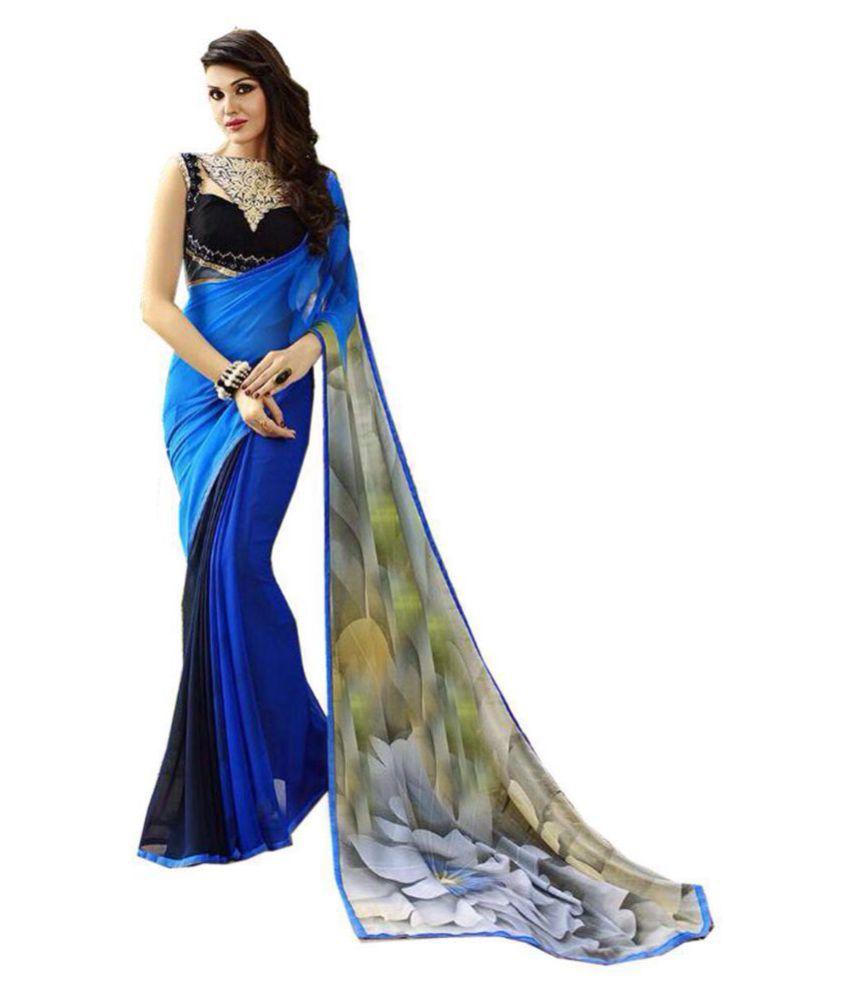 Gopalvilla Blue Georgette Saree